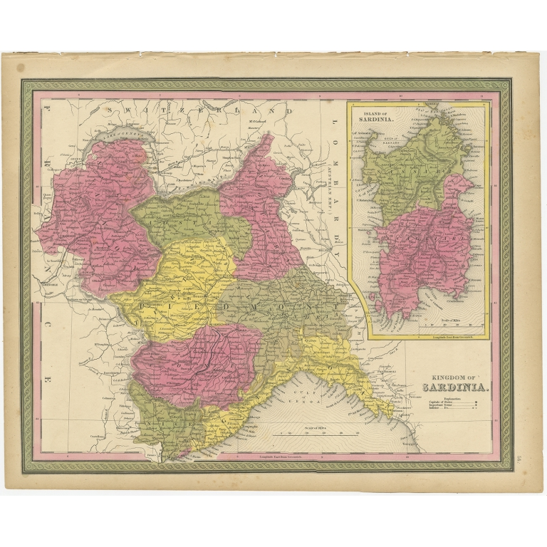 Antique Map of the Kingdom of Sardinia by Mitchell (1846)
