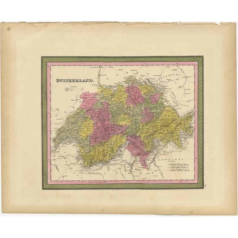 Antique Map of Switzerland by Mitchell (1846)