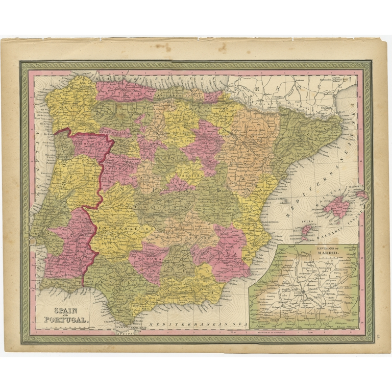 Antique Map of Spain and Portugal by Mitchell (1846)