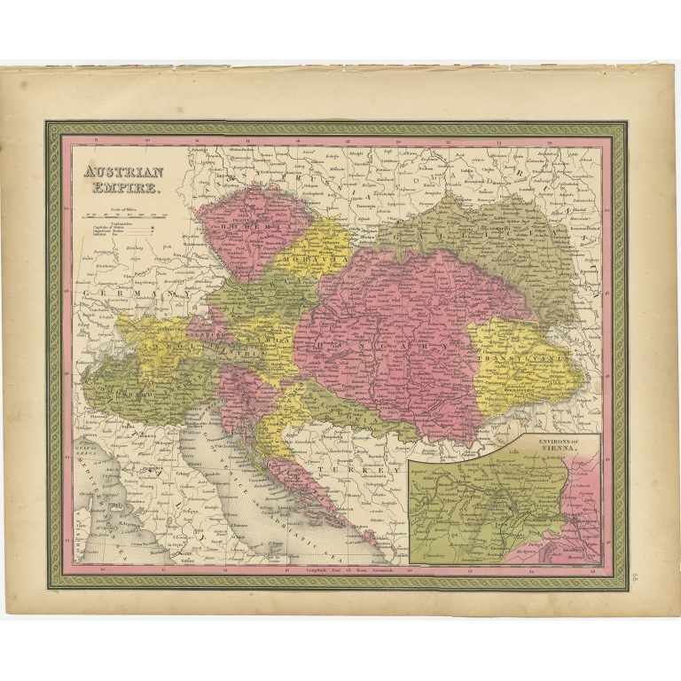 Antique Map of the Austrian Empire by Mitchell (1846)