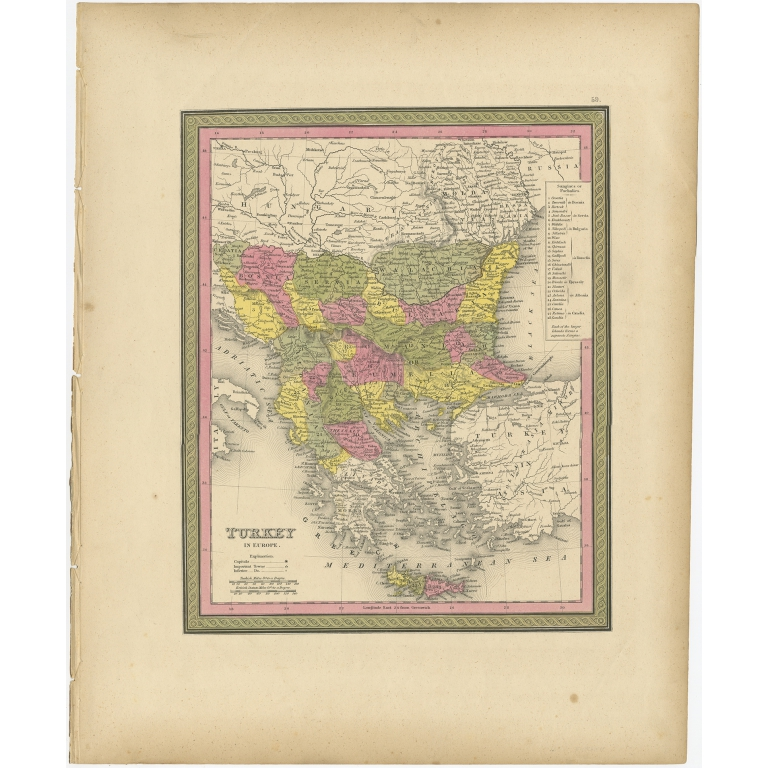 Antique Map of Turkey in Europe by Mitchell (1846)