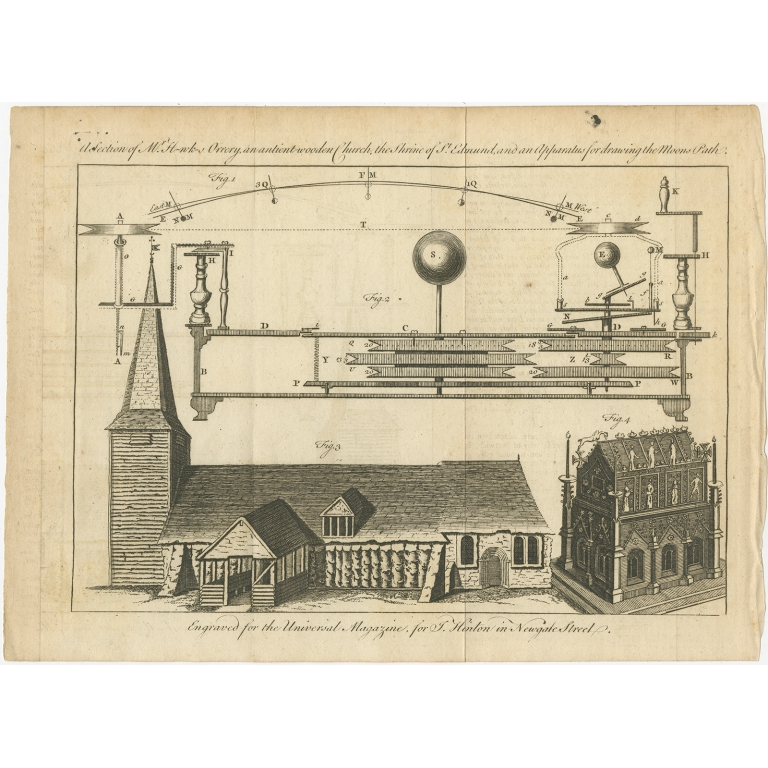 Antique Print of an Orrery and Ancient Church (1754)