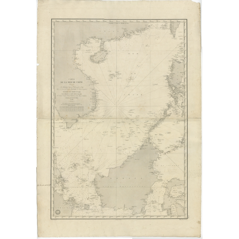 Antique Chart of the South China Sea by Daussy (1838)