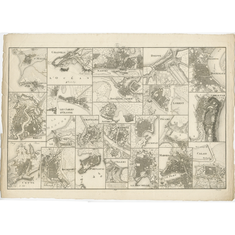 Antique Map of various Ports in France by Röder (c.1800)