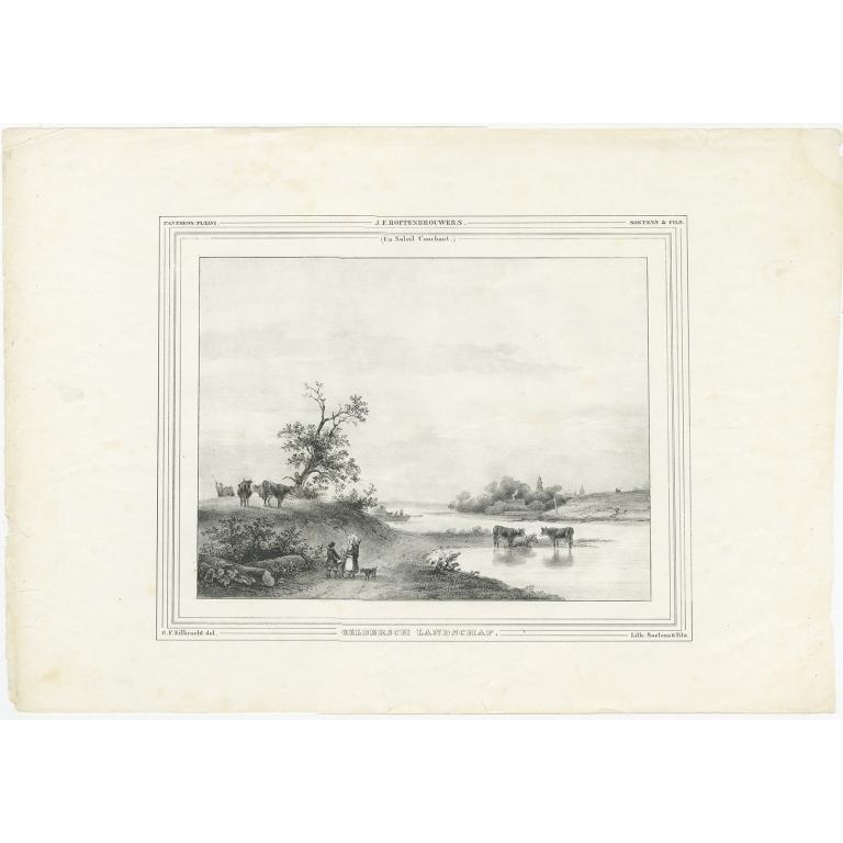 Antique Print of a Dutch landscape by Soetens & Fils (c.1840)