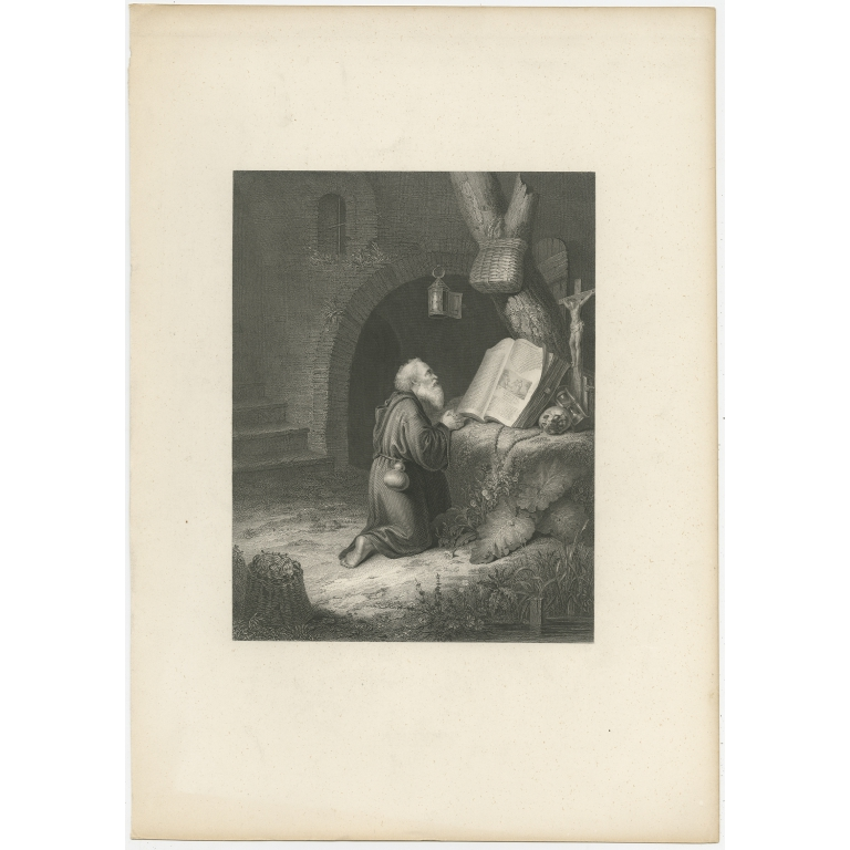 Antique Print of a Hermit at Prayer (c.1880)