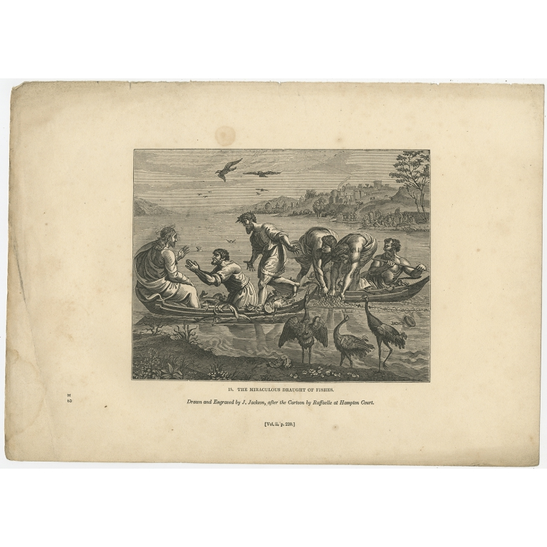 Antique Print of The Miraculous draught of Fishes by Knight (1835)