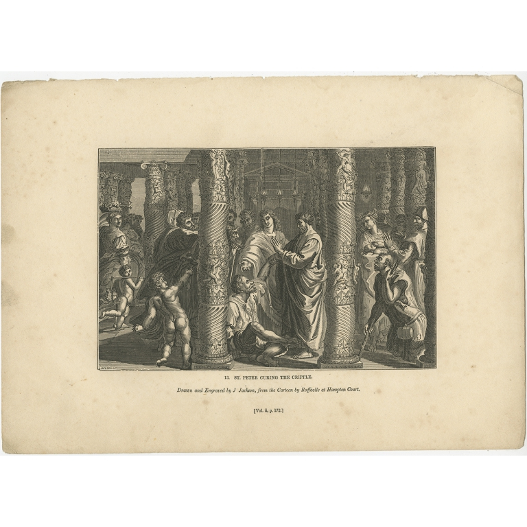 Antique Print of St. Peter healing the Cripple by Knight (1835)