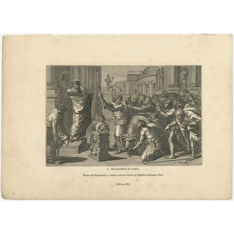 Antique Print of the Sacrifice at Lystra by Knight (1835)