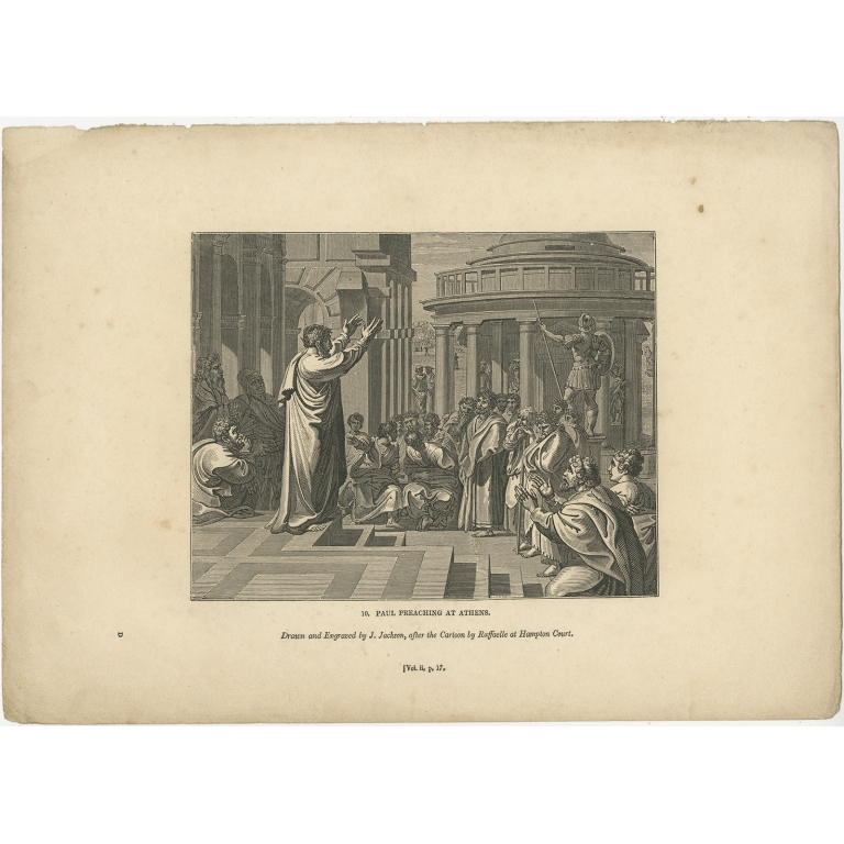 Antique Print of Paul preaching in Athens by Knight (1835)