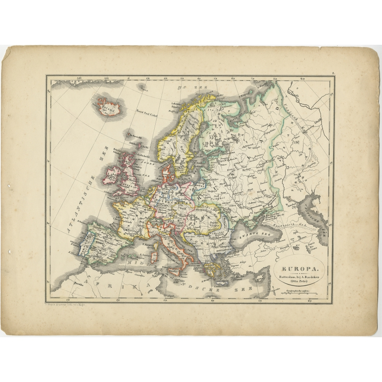 Antique Map of Europe by Petri (1852)