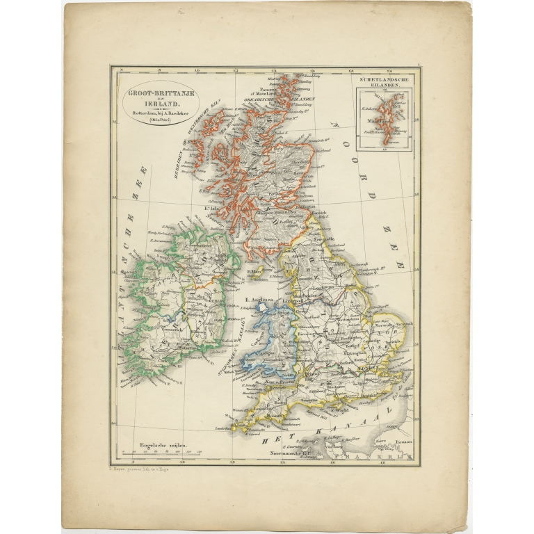 Antique Map of the United Kingdom and Ireland by Petri (1852)