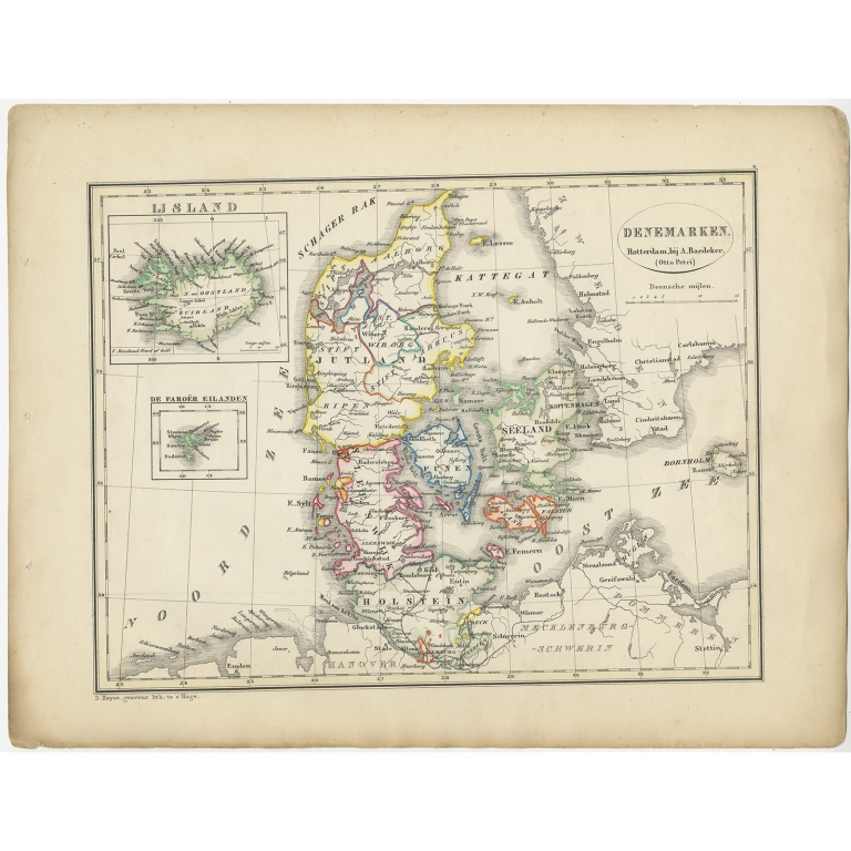 Antique Map of Denmark by Petri (1852)