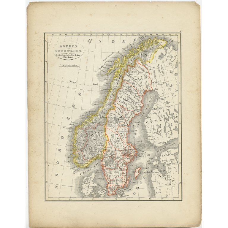 Antique Map of Sweden and Norway by Petri (1852)
