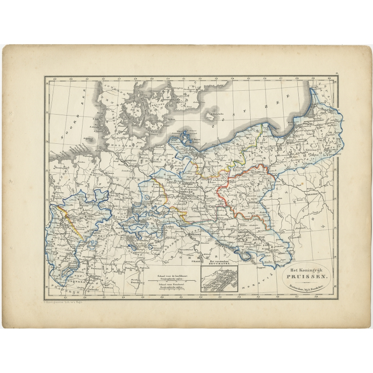 Antique Map of the Kingdom of Prussia by Petri (1852)