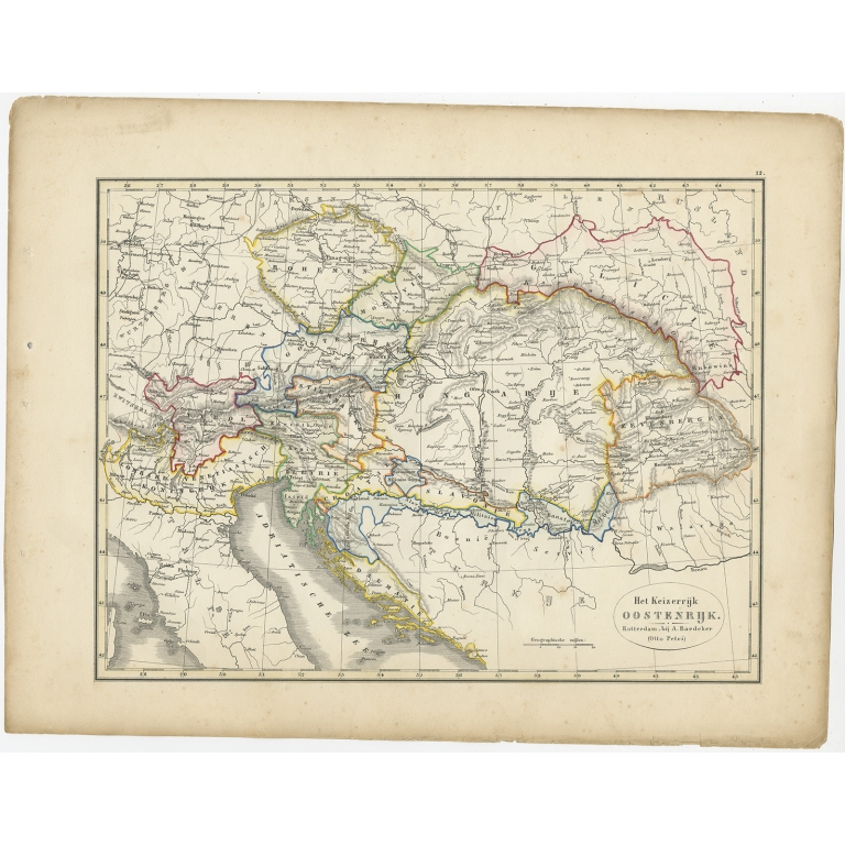 Antique Map of the Austrian Empire by Petri (1852)