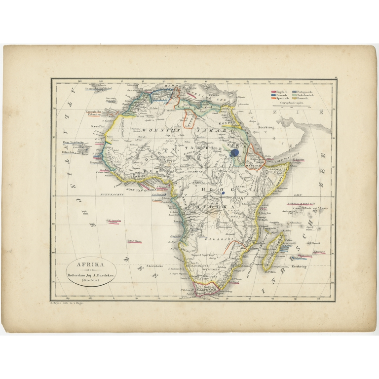 Antique Map of Africa by Petri (1852)