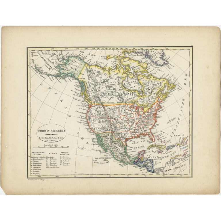Antique Map of North America by Petri (1852)