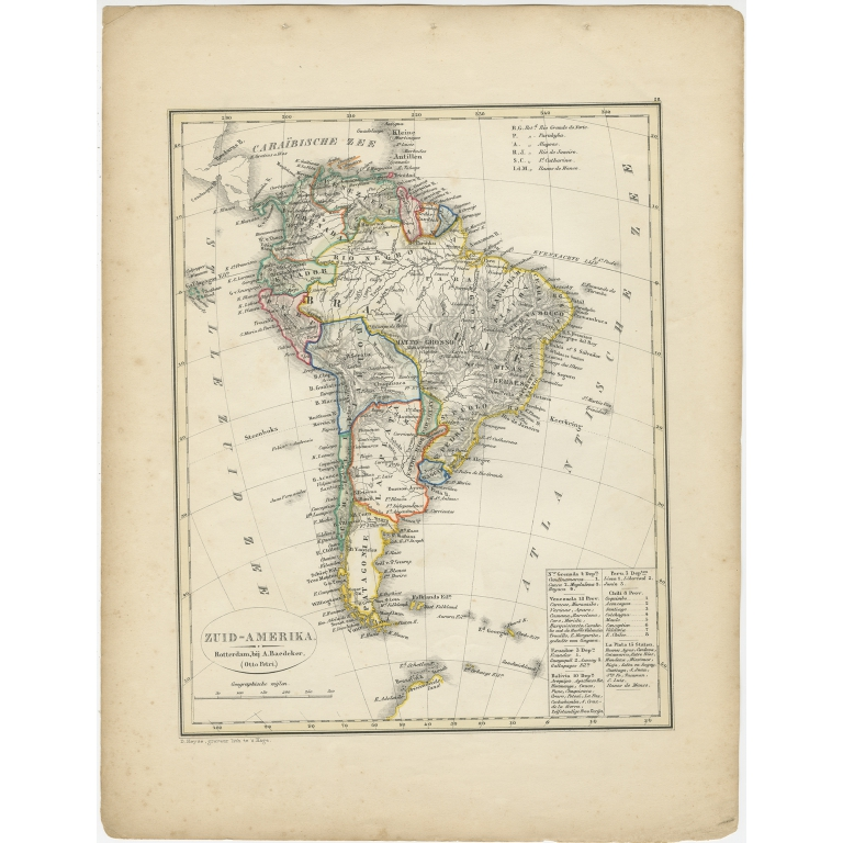Antique Map of South America by Petri (1852)