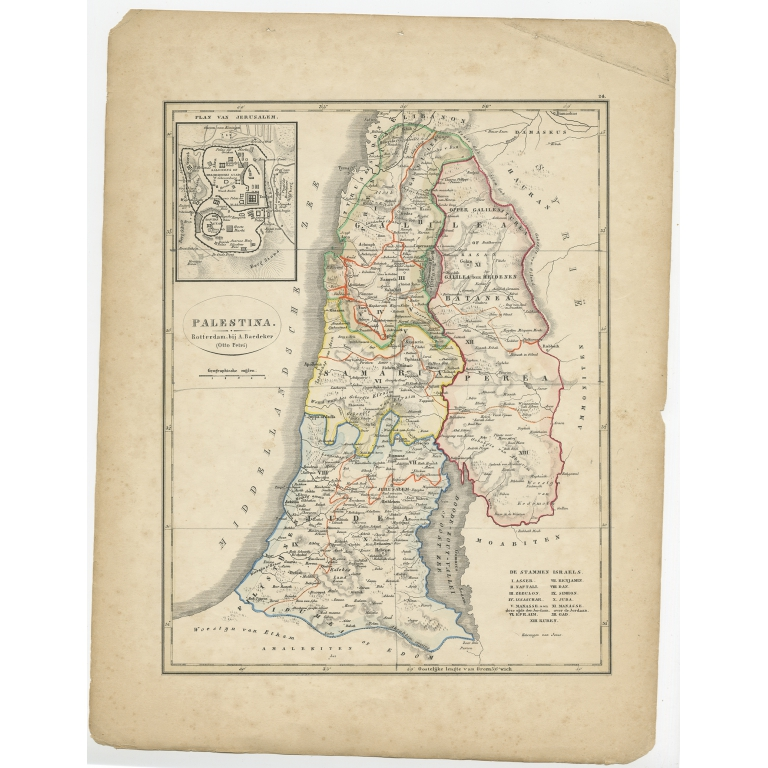 Antique Map of Palestine by Petri (1852)