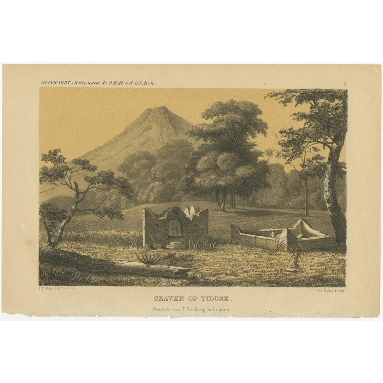Antique Print of Tombs on Tidore by Reinwardt (1858)