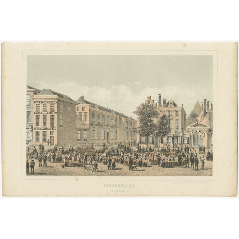 Antique Print of a Fruit Market in Utrecht by Weijer (1859)