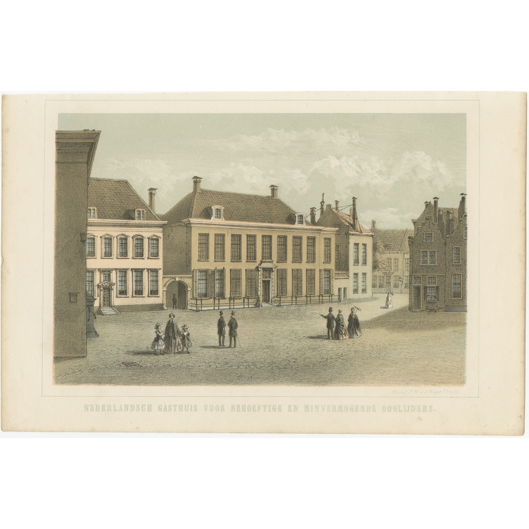 Antique Print of the Ophthalmology Hospital in Utrecht by Weijer (1859)