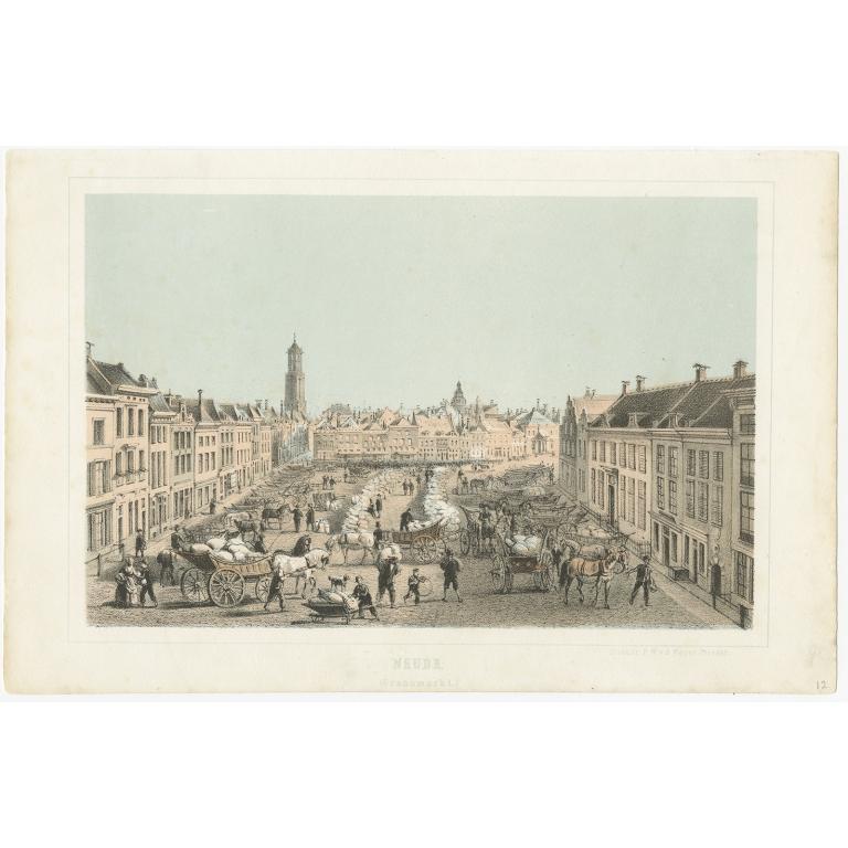 Antique Print of a Grain Market in Utrecht by Weijer (1859)