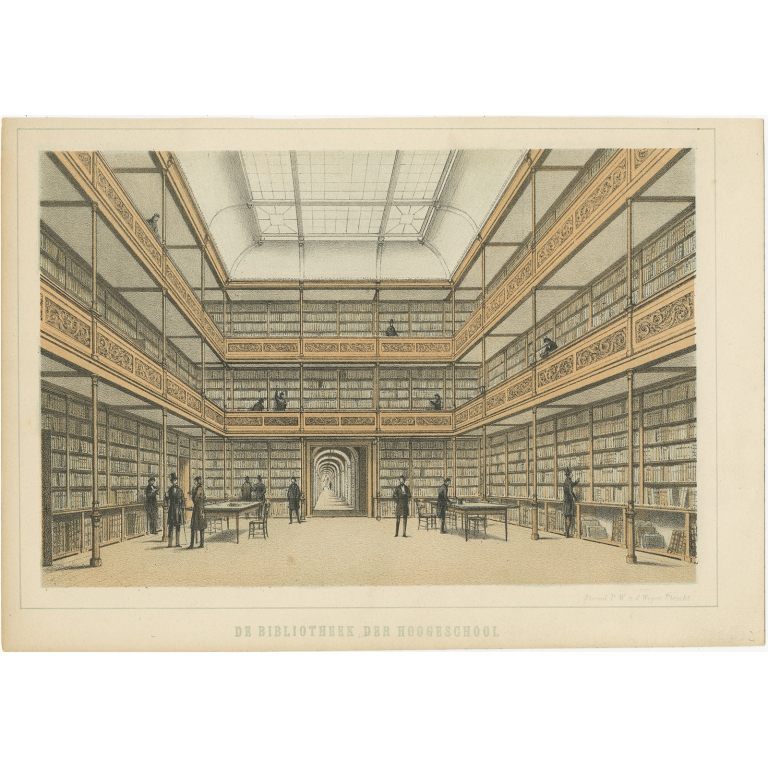 Antique Print of the Library of the University in Utrecht by Weijer (1859)