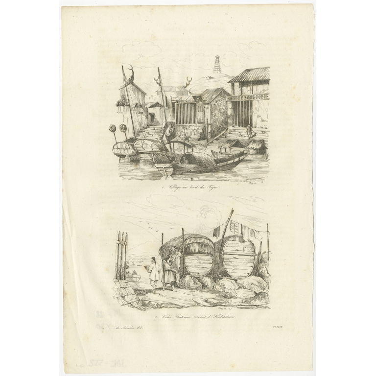 Antique Print of Chinese Boats and a Chinese Village by Dumont d'Urville (1834)