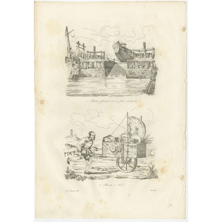 Antique Print of a Chinese Boat and Wheelbarrow by Dumont d'Urville (1834)
