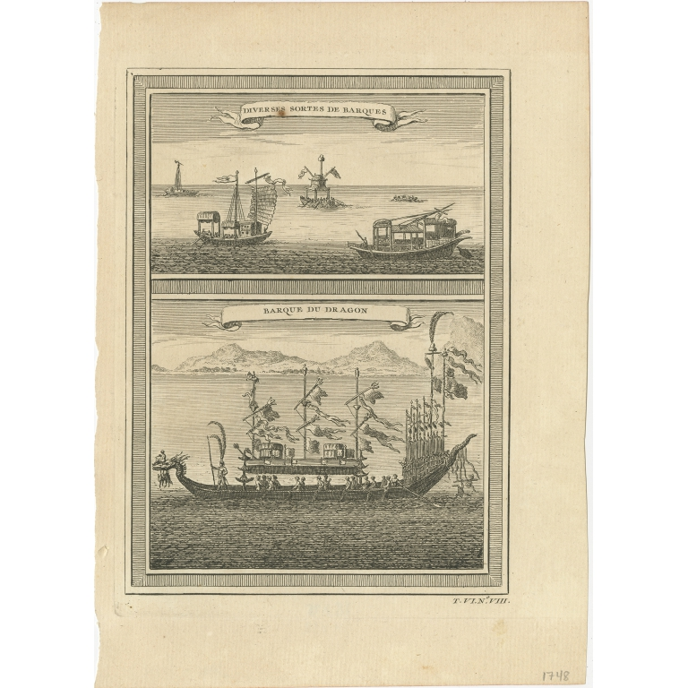 Antique Print of Chinese Vessels by Prévost (1748)