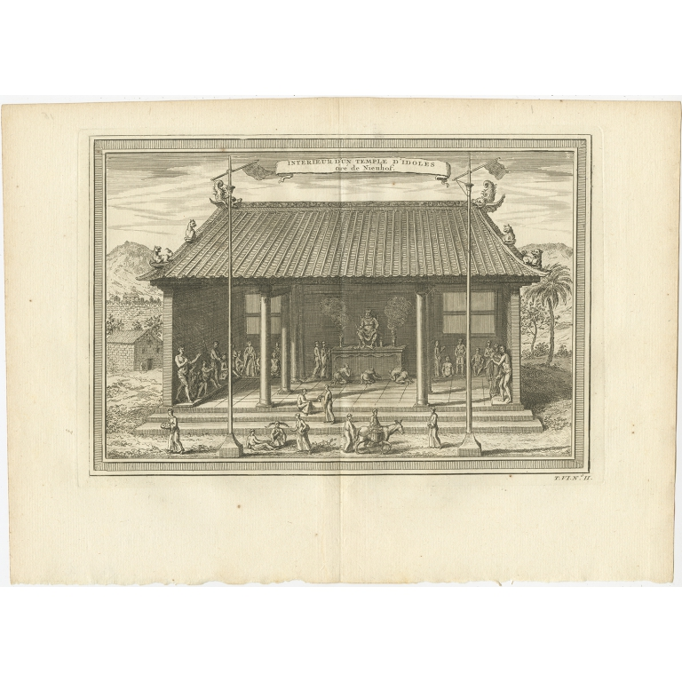 Antique Print of the Interior of a Chinese Temple by Prévost (1748)