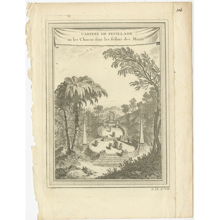 Antique Print of the site where the Chinese hold their Funeral Buffets by Chedel (1746)