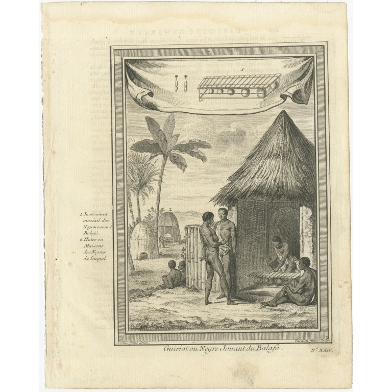 Antique Print of a Griot playing the Balafon by Prévost (1746)