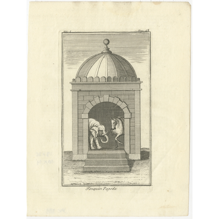 Antique Print of a Pagoda in Tonkin by Salmon (1739)