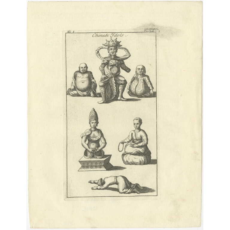Antique Print of Chinese Idols by Salmon (1739)