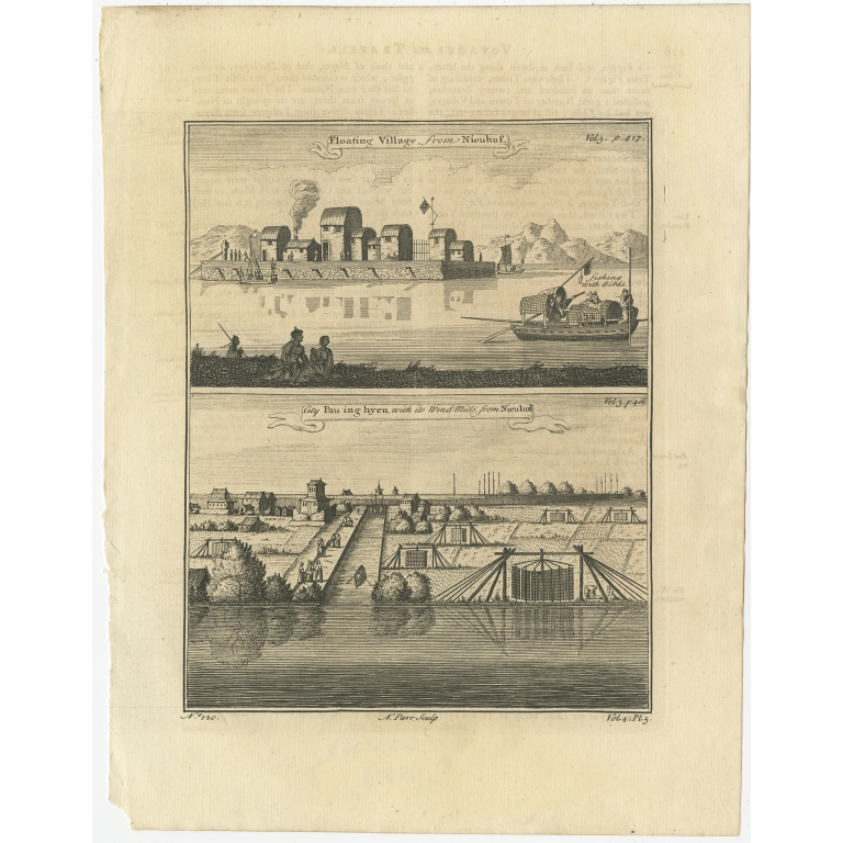 Antique Print of a Chinese floating village and Baoying by Parr (1747)