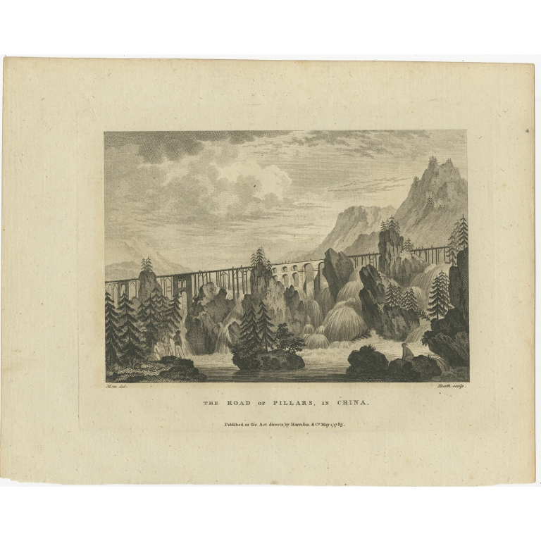 Antique Print of the Road of Pillars by Martyn (1783)