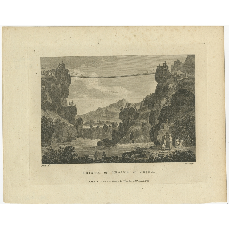 Antique Print of the Luding Bridge by Martyn (1782)