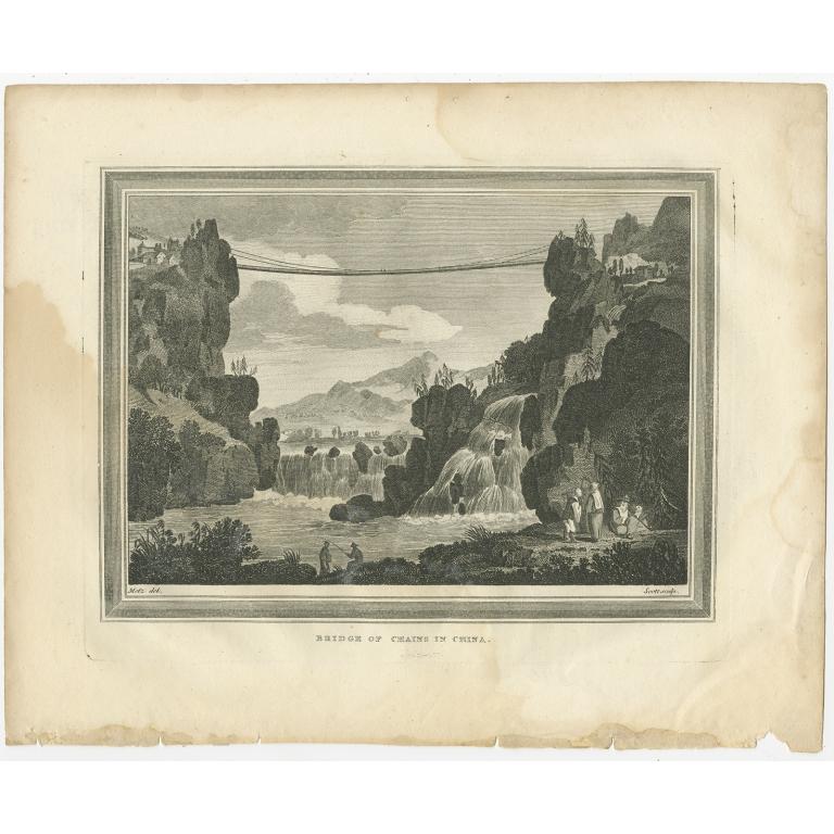 Antique Print of the Luding Bridge by Scott (c.1830)