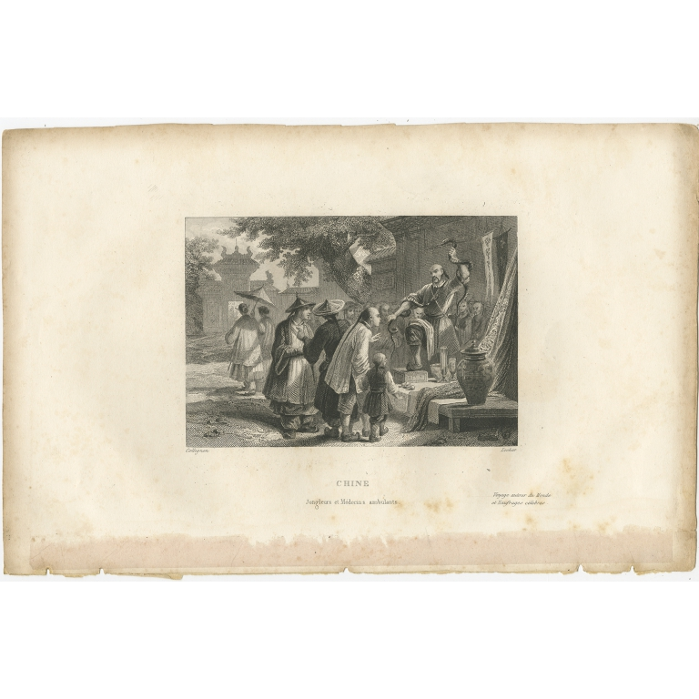 Antique Print of Chinese Jugglers and Doctors by De Lurcy (1844)