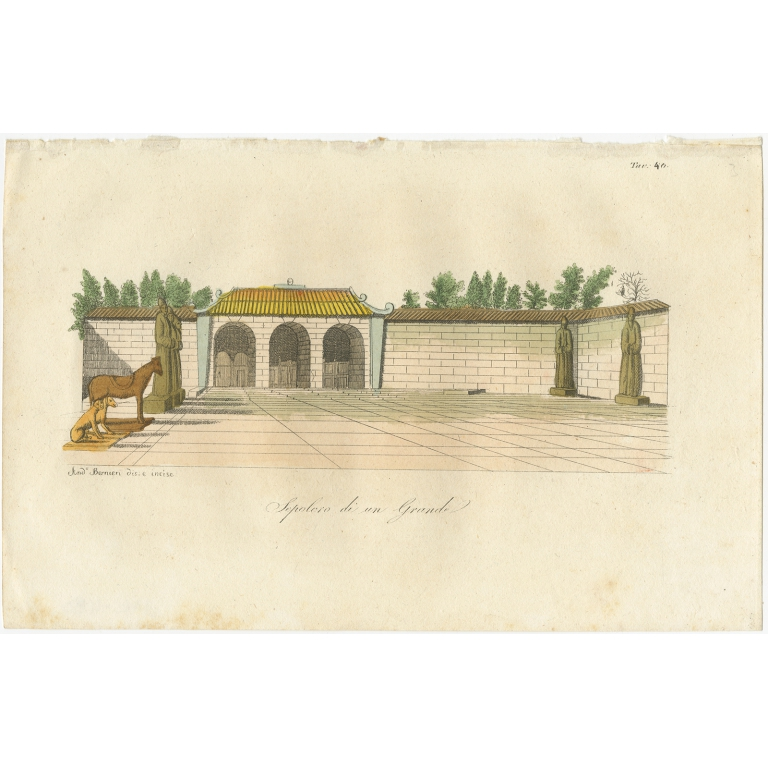 Antique Print of a Chinese Tomb by Ferrario (1823)