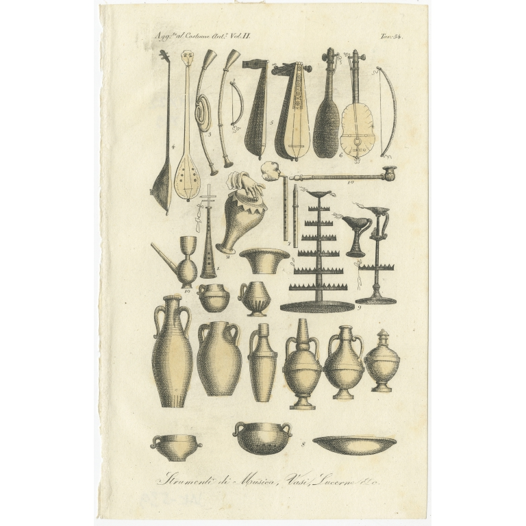 Antique Print of Musical Instruments by Ferrario (1834)