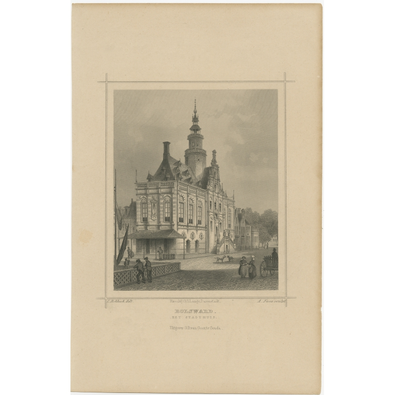 Antique Print of the City Hall of Bolsward by Terwen (c.1860)