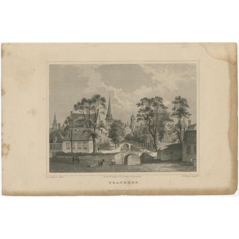 Antique Print of Franeker by Terwen (c.1860)