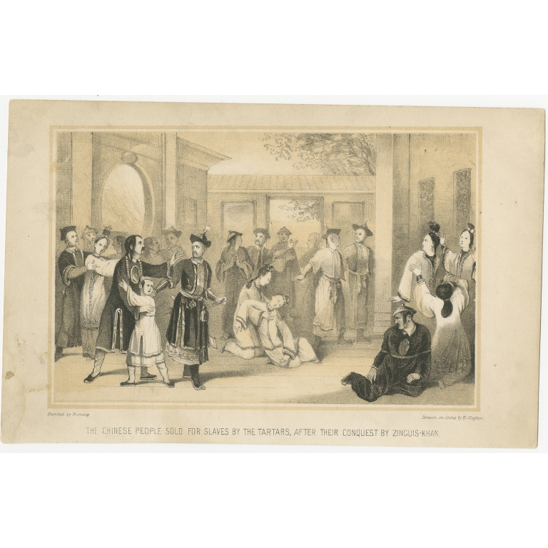 Antique Print of Chinese Slaves by Corner (1843)