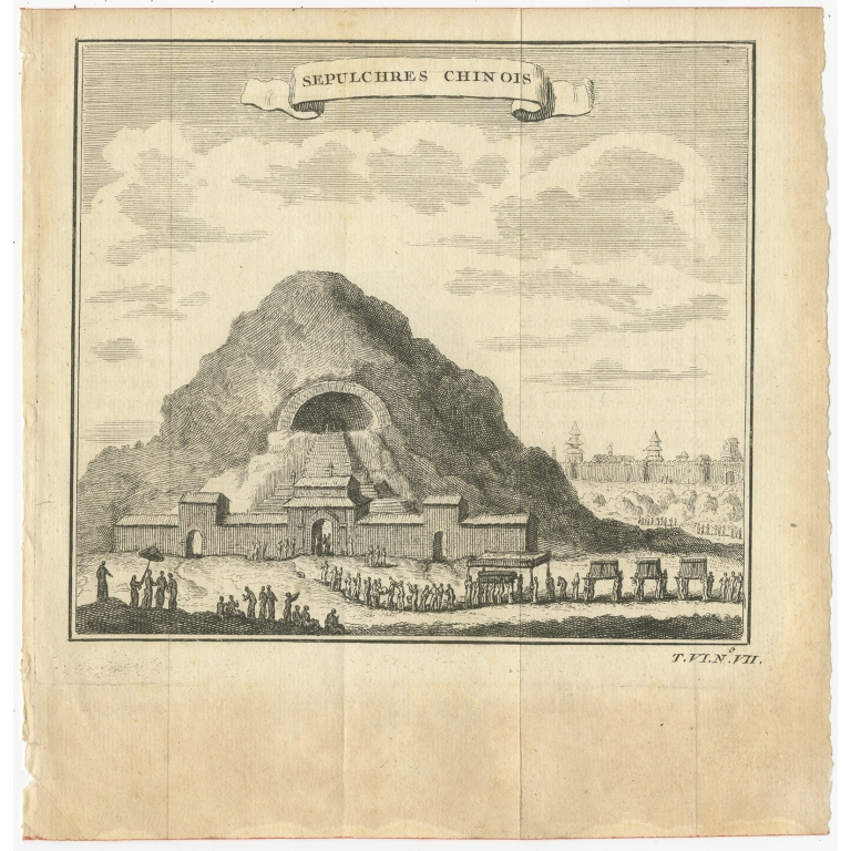 Antique Print of Chinese Tombs by Prévost (c.1750)