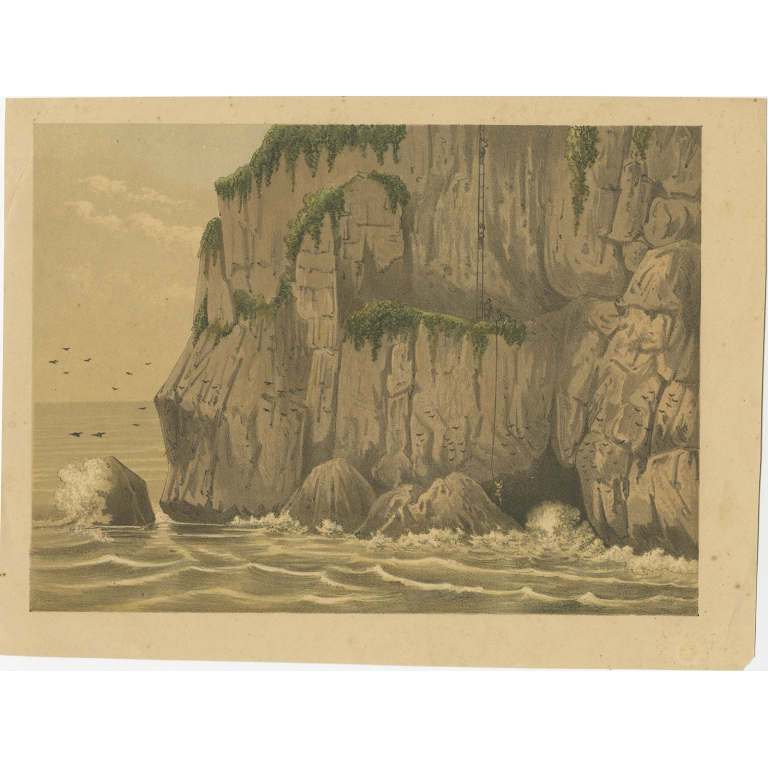 Antique Print of the Gunung Balong Mountain (Java) by Perelaer (1888)