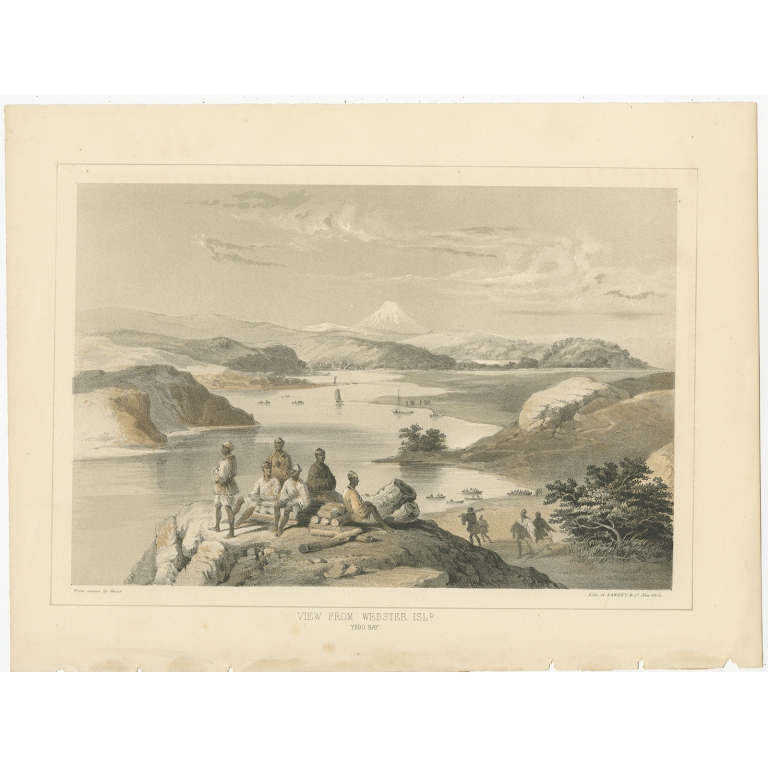 Antique Print of Webster Island and Mount Fuji by Hawks (1856)